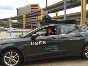 "Not me, but a brave Uber ""driver"" in a ""driverless"" car."